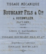 GUEBWILLER 1868 Entête: Tissage Bourcart Fils & Cie Napoléon Obl. G.C. 1726 - Postmark Collection (Covers)