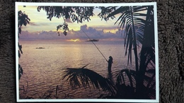 CPSM COUCHER DE SOLEIL SUR MOTU TAPU A BORA BORA POLYNESIE FRANCAISE PHOTO A SYLVAIN TAHITI - Polynésie Française