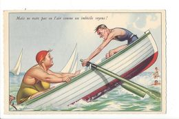 18219 - Mais Ne Reste Pas En L'air Comme Un Imbécile Voyons! Couple Dans Barque - Humour
