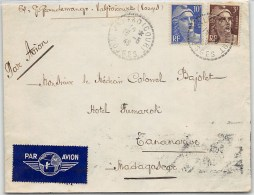 LETTRE DES VOSGES  VALFROICOURT 1946 AVEC  AFFRANCHISSEMENT GANDON PAR AVION POUR MADAGASCAR    COLONIES COVER - Marcophilie (Lettres)