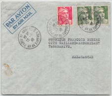 LETTRE DE PARIS  1946 AVEC  AFFRANCHISSEMENT GANDON PAR AVION POUR MADAGASCAR    COLONIES COVER - Marcophilie (Lettres)