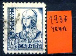 SPAGNA - Year 1937 - Usato - Used - Utilisè - Gebraucht. - 1931-Hoy: 2ª República - ... Juan Carlos I