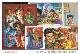 Mongolia,  Scott 2015 # 2228-2232,  Issued 1995, Sheet Of 9 + 4 S/S ,  MNH,  Cat $ 32.00,  Elvis - Mongolia