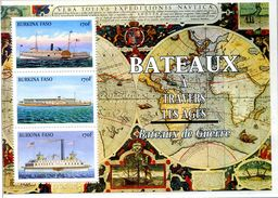 """BURKINA FASO 1999 MNH - """" BATEAUX A TRAVERS LES AGES """" - 1 BLOC DE 3 VAL - MINT SHEETS ** Sans Charniere - Burkina Faso (1984-...)"""