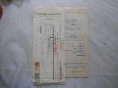 REIMS CHAMPAGNE LOUIS ROEDERER FACTURE ET TRAITE DU 12 JUILLET 1933 TIMBRES FISCAUX - France