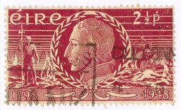 IRLANDA, IRELAND, COMMEMORATIVO, WOLFE TONE, 1948, FRANCOBOLLI USATI Yvert Tellier 106   Scott 135 - 1937-1949 Éire