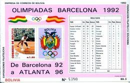 BOLIVIE - JO BARCELONE 1992 - - BLOC NEUF** REF950  - MINT SHEETS ** Sans Charniere - Estate 1992: Barcellona