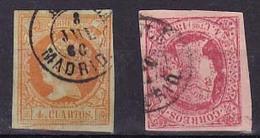 Año 1860-64 Edifil 52-64 4c Isabel II  Matasellos Alcala Madrid - 1850-68 Royaume: Isabelle II