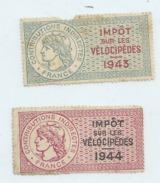 Timbres Fiscaux  TAXE SUR LES VELOCIPEDES 1943 Et 1944 Port 1euro N7 - Stamps