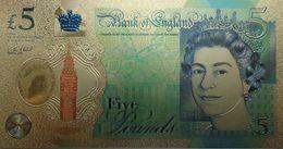 Billet Plaqué Or 24K Grande Bretagne 5 Livres NEUF - Collezioni