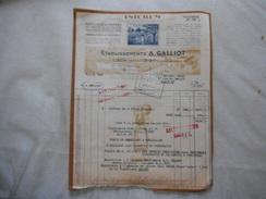 """LISON CALVADOS ETABLISSEMENTS A. GALLIOT CARAMELS ET TOFFEES """"ISICREM"""" FACTURES DES 2 FEVRIER 1949 - 1900 – 1949"""