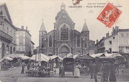 CHARLIEU   Place St Philibert  Le Marché  ( Plan Animé ) - Charlieu