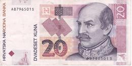 BILLETE DE CROACIA DE 20 KUNA DEL AÑO 2012  (BANKNOTE) - Croacia