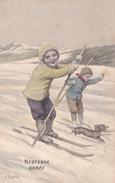 CPA Enfants Sport D'Hiver Ski Chien Dog Teckel Dackel Daschsund Bassotto Basset Illustrateur K. FEIERTAG - Feiertag, Karl