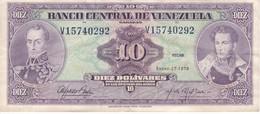 BILLETE DE VENEZUELA DE 10 BOLIVARES DEL AÑO 1976  (BANK NOTE) - Venezuela