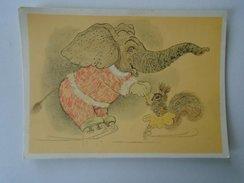 D155028 Animals  - Elephant Squirrel Skating SKATE     - Illustr. Golubev URSS Russia - Elefanten