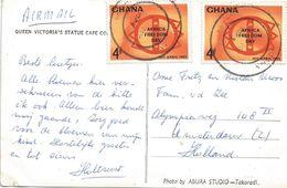 Ghana 1963 Accra Africa Freedom Day Stool Symbol Viewcard - Ghana (1957-...)