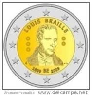 """BELGICA  2€  2009  SC/UNC  """"LOUIS BRAILLE""""  BIMETALICA   DL-7262 - Belgium"""