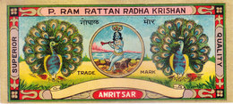 INDIA - VINTAGE LITHOGRAPHIC PRINT TEXTILE TRADE LABEL- LORD KRISHNA / BAL GOPAL, PEACOCK - Textile