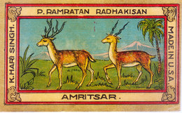 INDIA - VINTAGE LITHOGRAPHIC PRINT TEXTILE TRADE LABEL- DEER - PRINTED IN USA - Textile