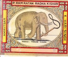 INDIA - VINTAGE LITHOGRAPHIC PRINT TEXTILE TRADE LABEL- ELEPHANT - Textile