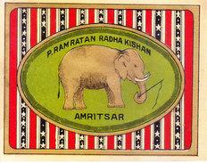 INDIA - VINTAGE LITHOGRAPHIC PRINT TEXTILE TRADE LABEL - ELEPHANT - Textile