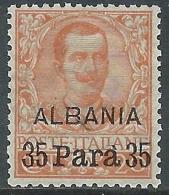 1902 LEVANTE ALBANIA FLOREALE 35 PA SU 20 CENT MNH ** - E101-3 - Albania