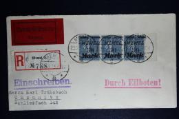 Memel: Einschreiben Umschlag Memel Chemnitz  Zug Stempel 108  Mi 123 Signiert Dr Petersen BPP - Memelgebiet