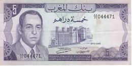 BILLETE DE MARRUECOS DE 5 DIRHAMS DEL AÑO 1970  (BANKNOTE) - Maroc