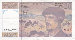 BILLETE DE FRANCIA DE 20 FRANCS DEL AÑO 1997 SERIE W.057  (BANKNOTE) CLAUDE DEBUSSY - 1962-1997 ''Francs''