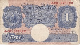 BILLETE DE REINO UNIDO DE 1 POUND DE LOS AÑOS 1948 A 1960   (BANKNOTE) - …-1952 : Before Elizabeth II