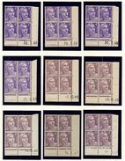 L030N°718 - 4f Violet Marianne De GANDON - Lot De 13 Coins Datés ** - Dated Corners