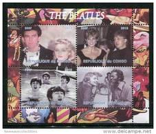 THE BEATLES,CHUCK BERRY On SOUVENIR SHEET 4 STAMPS,MNH,MINT,#O2 - Singers