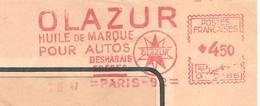 EMA HAVAS Type G De 1947 Avec Pub OLAZUR Huile De Marque Pour Autos - Marcophilie (Lettres)