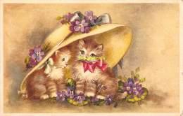 CPA   DESSIN CHAT CHATS  ARTIST DRAWN CARD CAT CATS ILLUSTRATEUR HANNES PETERSEN ARTIST SIGNED - Katzen