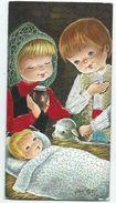 Carte Brodée Carnet Double Crèche Nativité Mouton , Illustrateur à Identifier , Meilleurs Vœux , écrite 1972 - Brodées