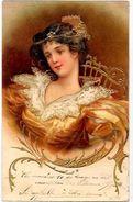 CPA Art Nouveau Femme Girl Woman Circulé Type Kirchner Mucha Gaufré Dorures - Künstlerkarten