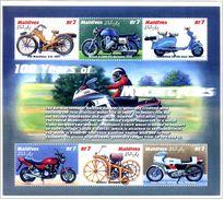 MALDIVES 2000 100 YEARS OF MOTORCYCLES SCOTT 2479 -1 BLOC - MINT SHEETS ** Sans Charniere - Maldive (1965-...)