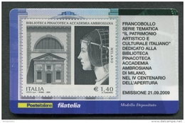 ITALIA TESSERA FILATELICA 2009 - BIBLIOTECA PINACOTECA ACCADEMIA AMBROSIANA DI MILANO - 336 - 6. 1946-.. Republik
