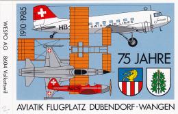 Autocolant Aviatik Flugplatz D¨bendorf-Wangen - 1910-1985 , 75 Jahre - Autres Documents