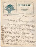 Belgique- Verviers. 1908. Lettre De : L'Universel. Music-Hall Pont St Laurent,6, Proprietaire V Counhaye.Déco Art Nouvea - Belgique