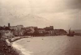 Kent Thanet Broadstairs La Plage Front De Mer Ancienne Photo Amateur 1900 - Places