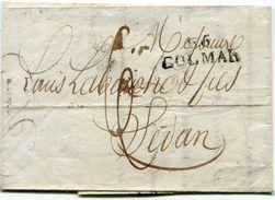 HAUT RHIN De COLMAR LAC Du 18/03/1823 Ave Linéaire 30x11 Taxée 6 Pour SEDAN - Storia Postale