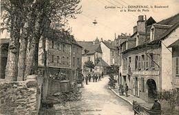 19. CPA.  DONZENAC.  Boulevard Et Route De Paris.  Commerce Soubrenie. Carrioles. - Frankreich