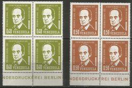 Venezuela  - 1964 Pedro Gual Blocks Of 4  MNH **    Sc 852-3 - Venezuela