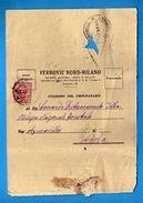 FERROVIE NORD - MILANO - Da TORINO Ad AYMAVILLES ( AOSTA), 26/04/1927   Vedi Descrizione. - Transportation Tickets