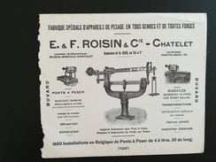 UN BUVARD PUBLICITAIRE E.  &  F.  ROISIN  &  Cie  -   CHATELET BELGIQUE  APPAREILS DE PESAGE - Blotters