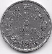 Belgique - 5 Francs 1931 - 1909-1934: Alberto I