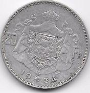 Belgique - 20 Francs 1934 - Argent - 1909-1934: Alberto I