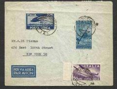 1947 Italia Italy Repubblica STORIA POSTALE AEREA Affr. 2L Democratica, 50L Nuovo Colore, 35L Radio Viagg. NY - 6. 1946-.. Repubblica